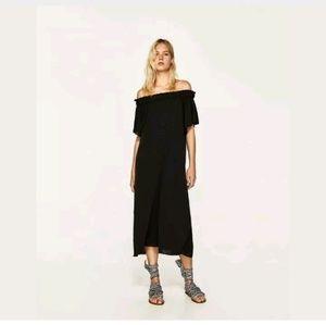 Zara Oversized Small Off Shoulder Black Dress Midi